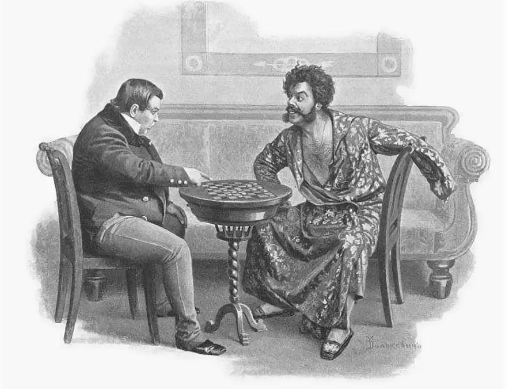 Чичиков и Ноздрев играют в шашки на души