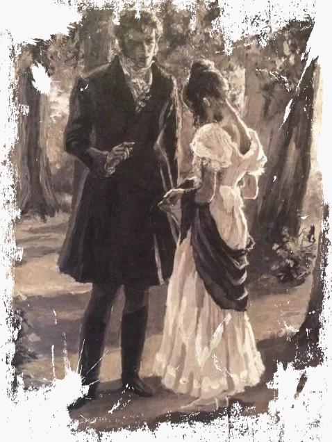 Евгений и Татьяна встречаются в саду